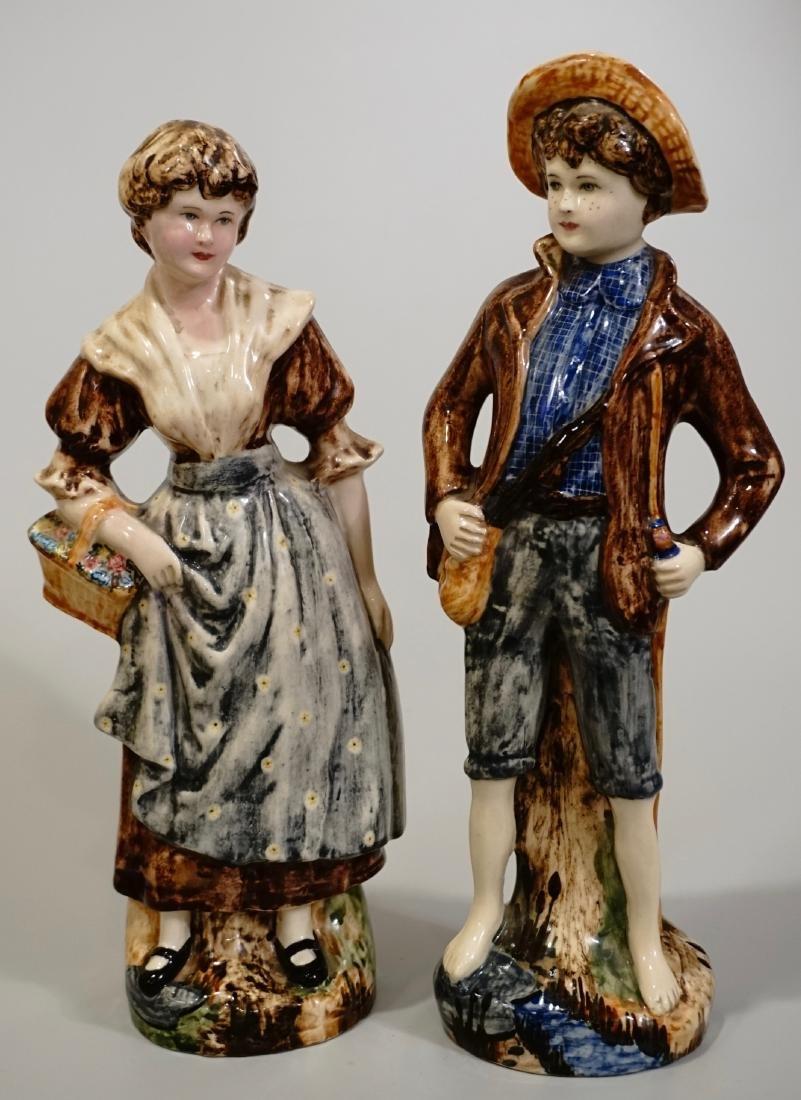 Tom Sawyer & Becky Majolica Figurines York China and