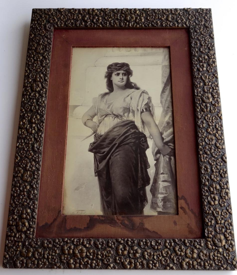 Large Antique Victorian Print Maiden Holding Dagger Orn