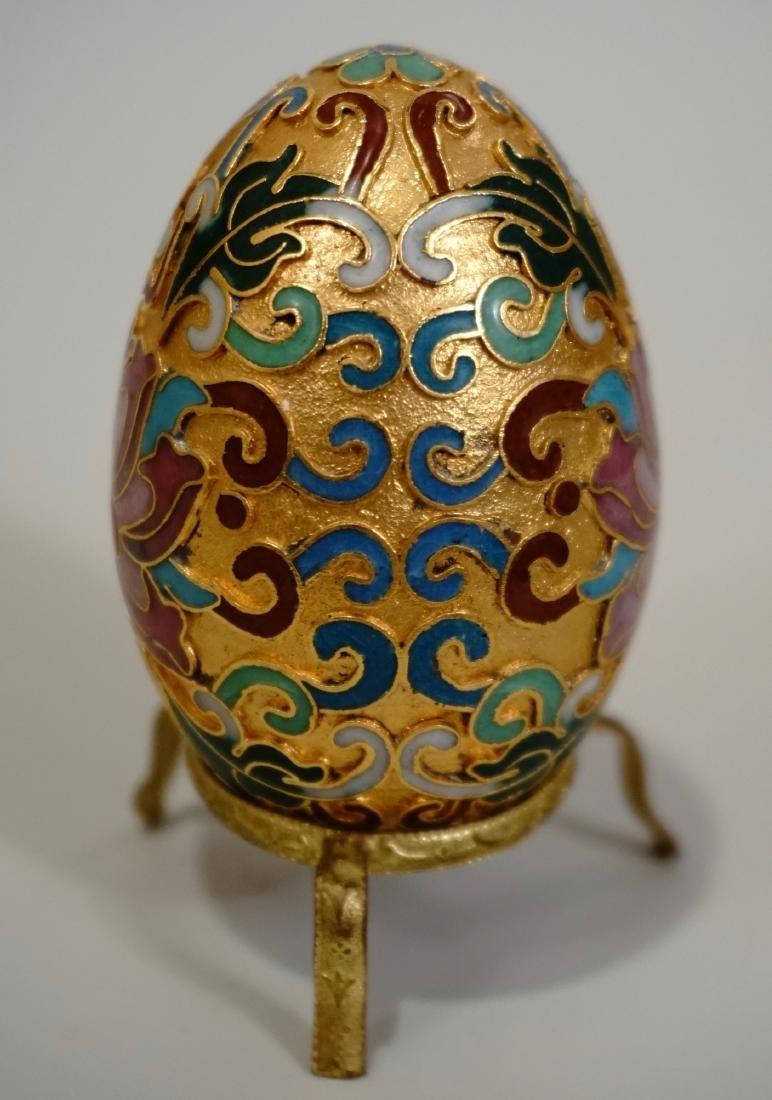 Gilded Cloisonne Enamel Easter Egg On Tripod Stand
