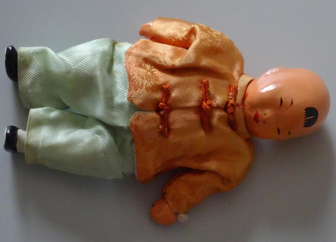 Vintage Chinese Baby Boy Doll Silk Clothing Hand