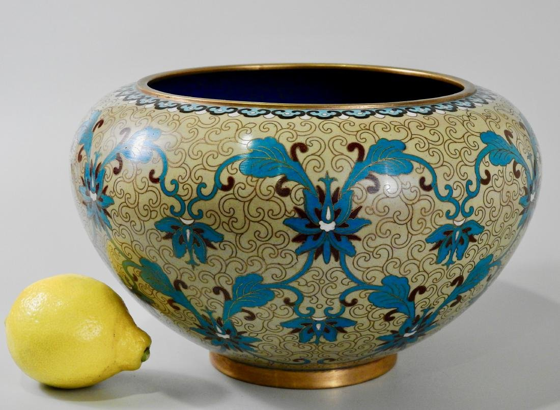 Large Chinese Cloisonne Enamel Bowl Jardiniere Planter