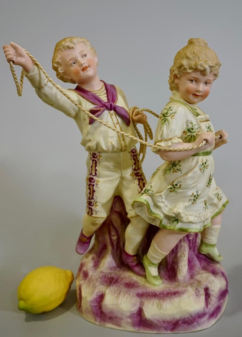 Large Heubach Bisque Porcelain Group Children Playing