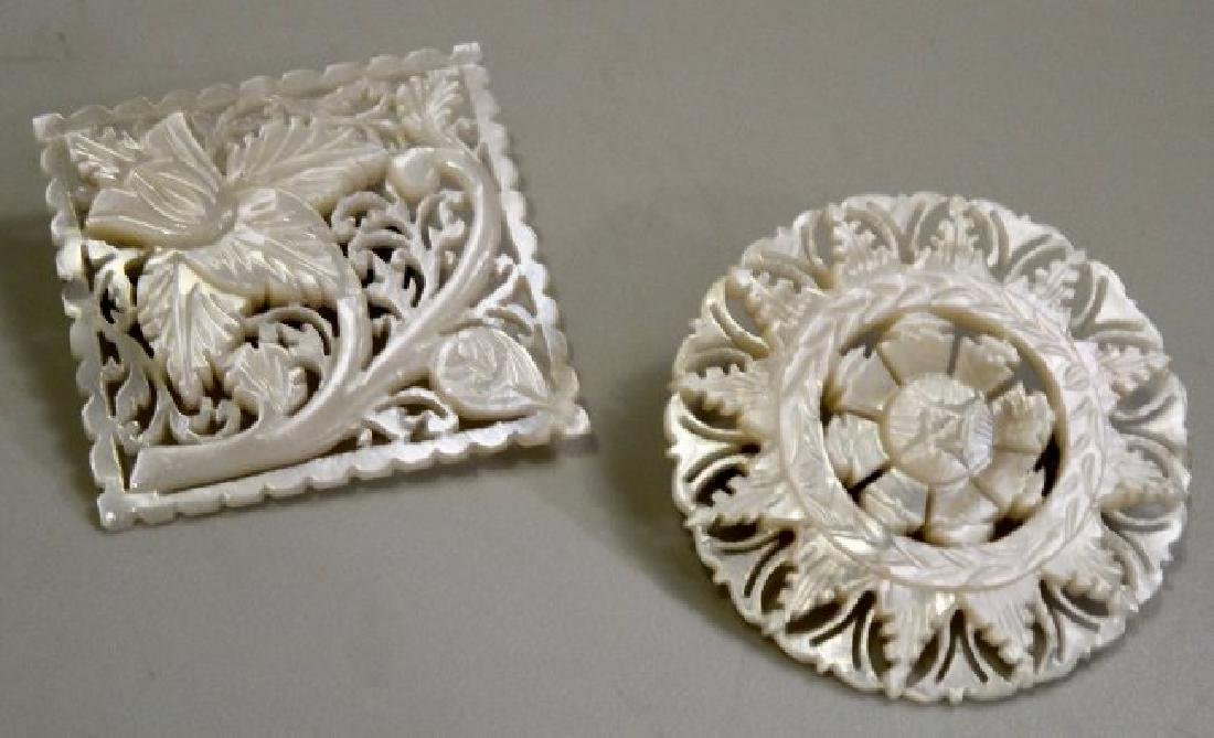 Carved MOP Pins Lot of 2 Mother of Pearl Brooches