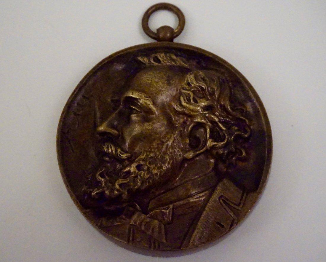 French Antique Bronze Roundel Portrait Plaque Medal