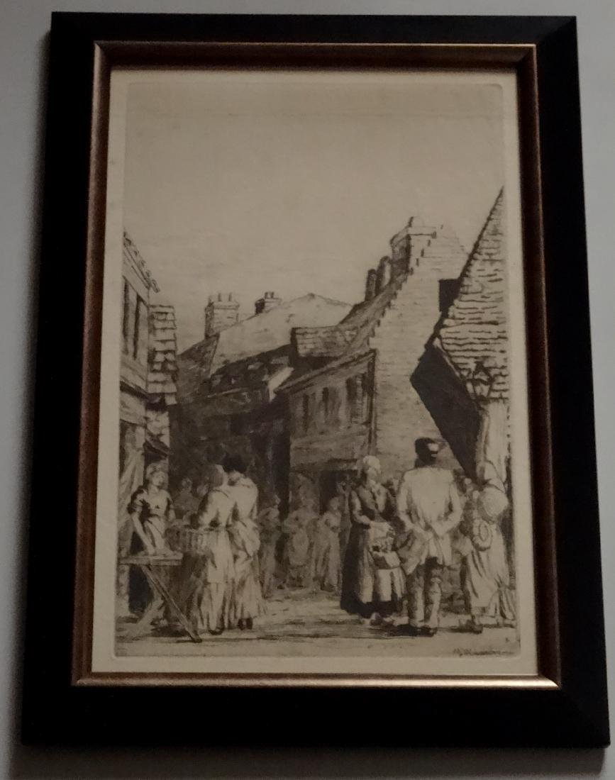 Antique Country Market Scene Genre Etching Signed