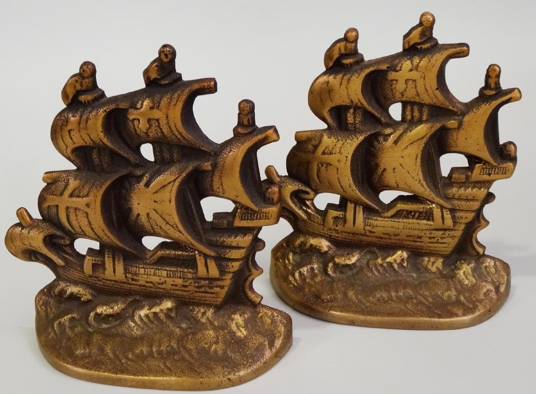 Vintage Cast Brass Bookends Pair Columbus Santa Maria