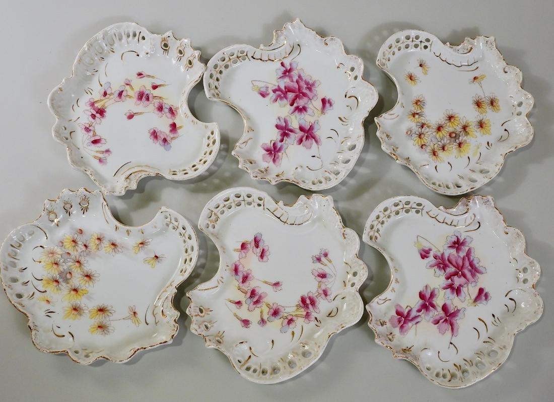 Antique German Rococo Porcelain Plates Pierced Border