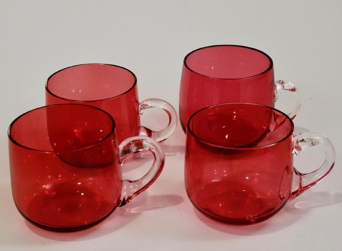 Four Antique Cranberry Punch Glass Custard Cup Polished