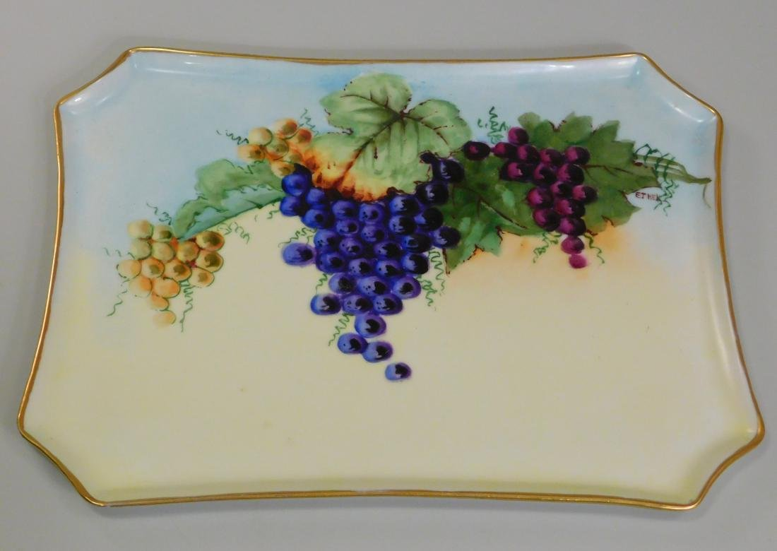 Bavarian Porcelain Tray Hand Painted Grapes