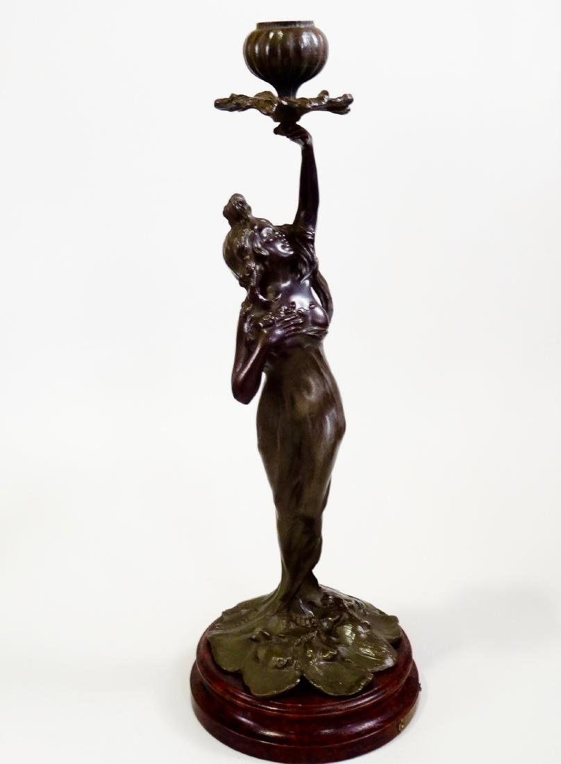 Antique French Art Nouveau Patinated Spelter Figural