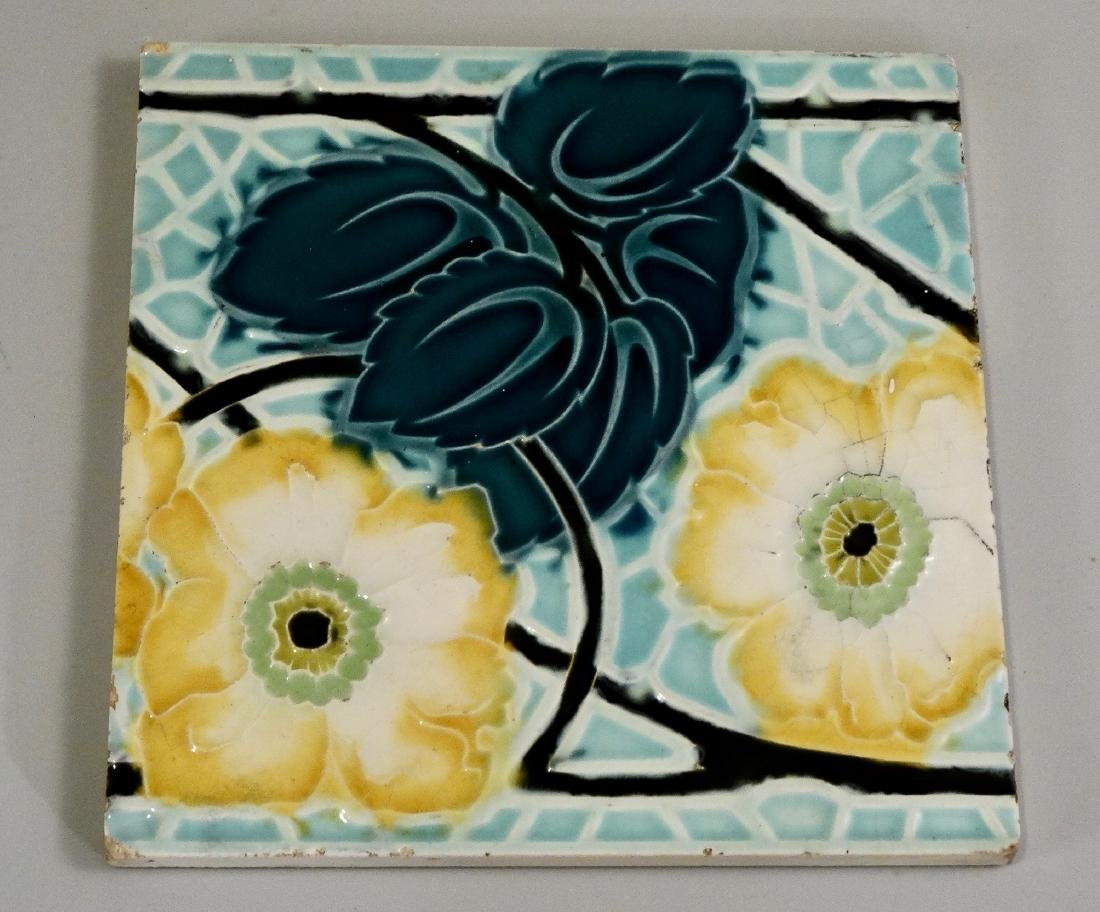 Belgian Art Nouveau Ceramic Tile