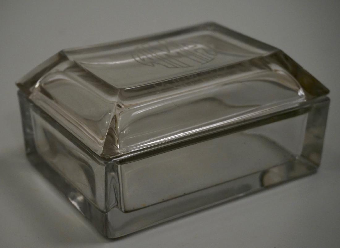 Vintage Glass Casket Trinket Box Carved Monogram Art