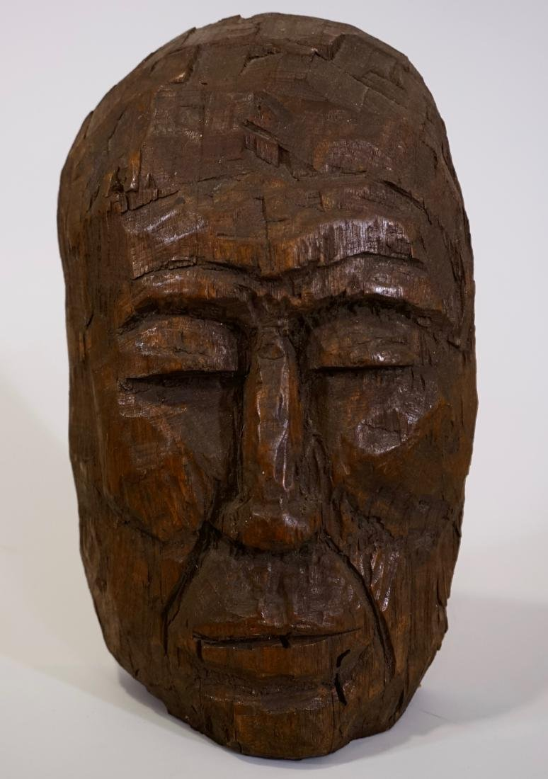 Primitive Carved Wood Mask Wall Plaque