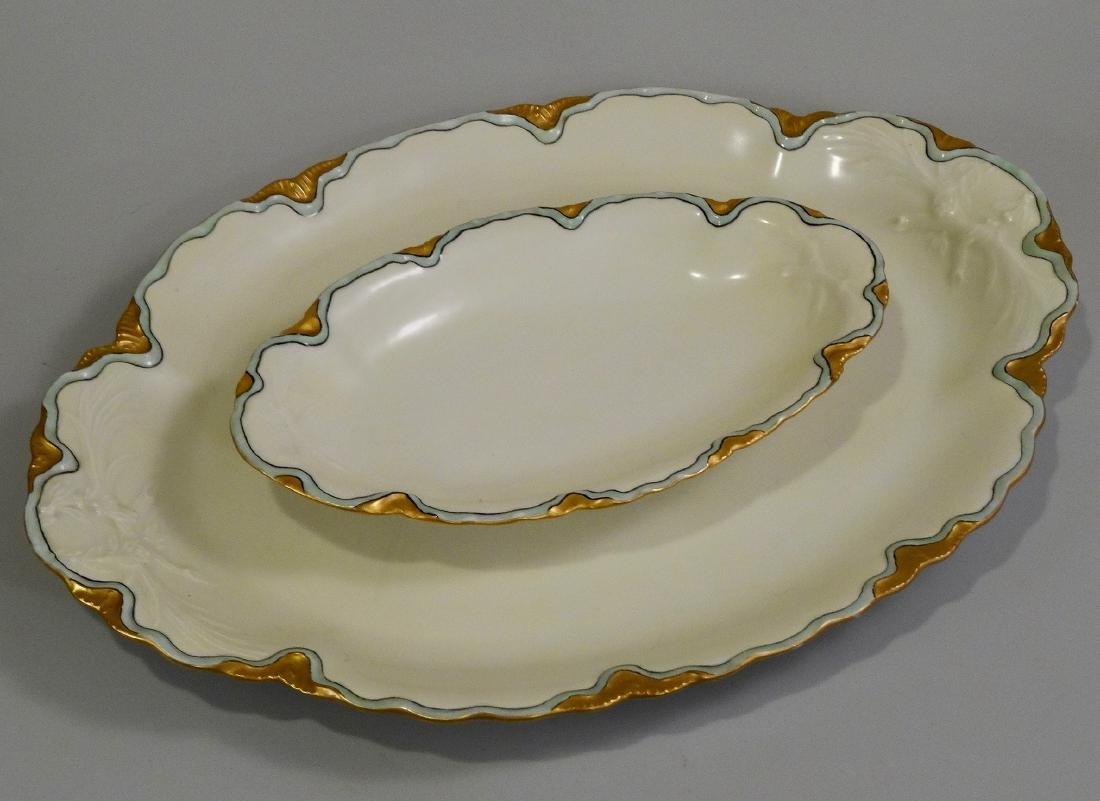 Haviland Porcelain Art Nouveau Set of 2 Tray Platters