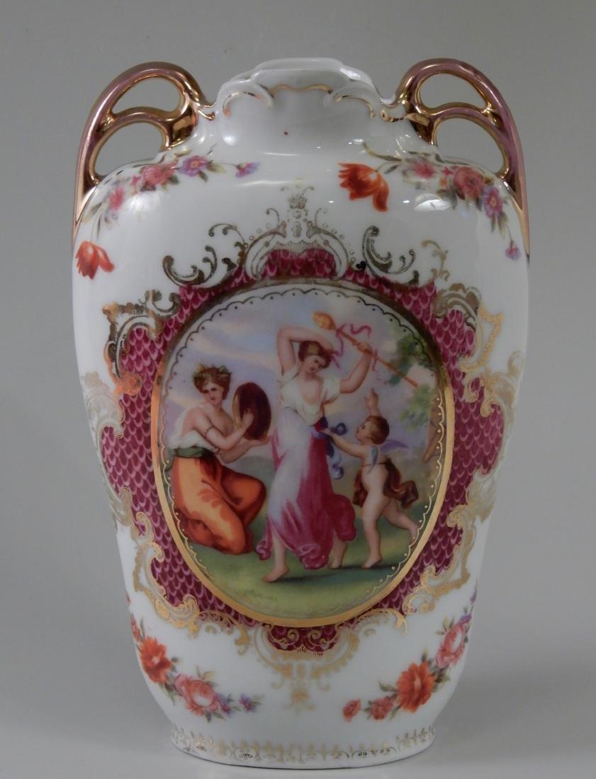 Vintage Austrian Porcelain Vase Neoclassical Cartouche