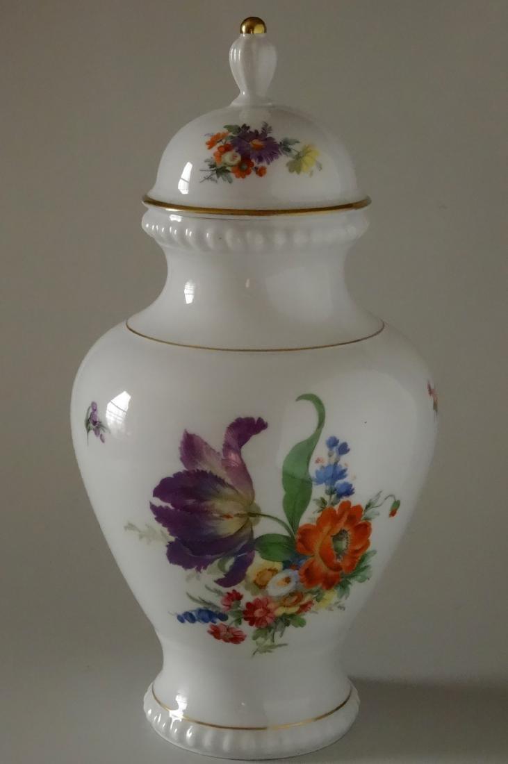 Vintage German Porcelain Dresden Flowers Lidded Urn