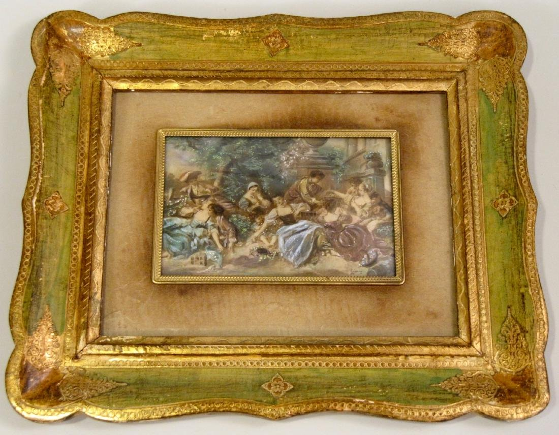 Italian Miniature Painting 18th Century Galant Scene