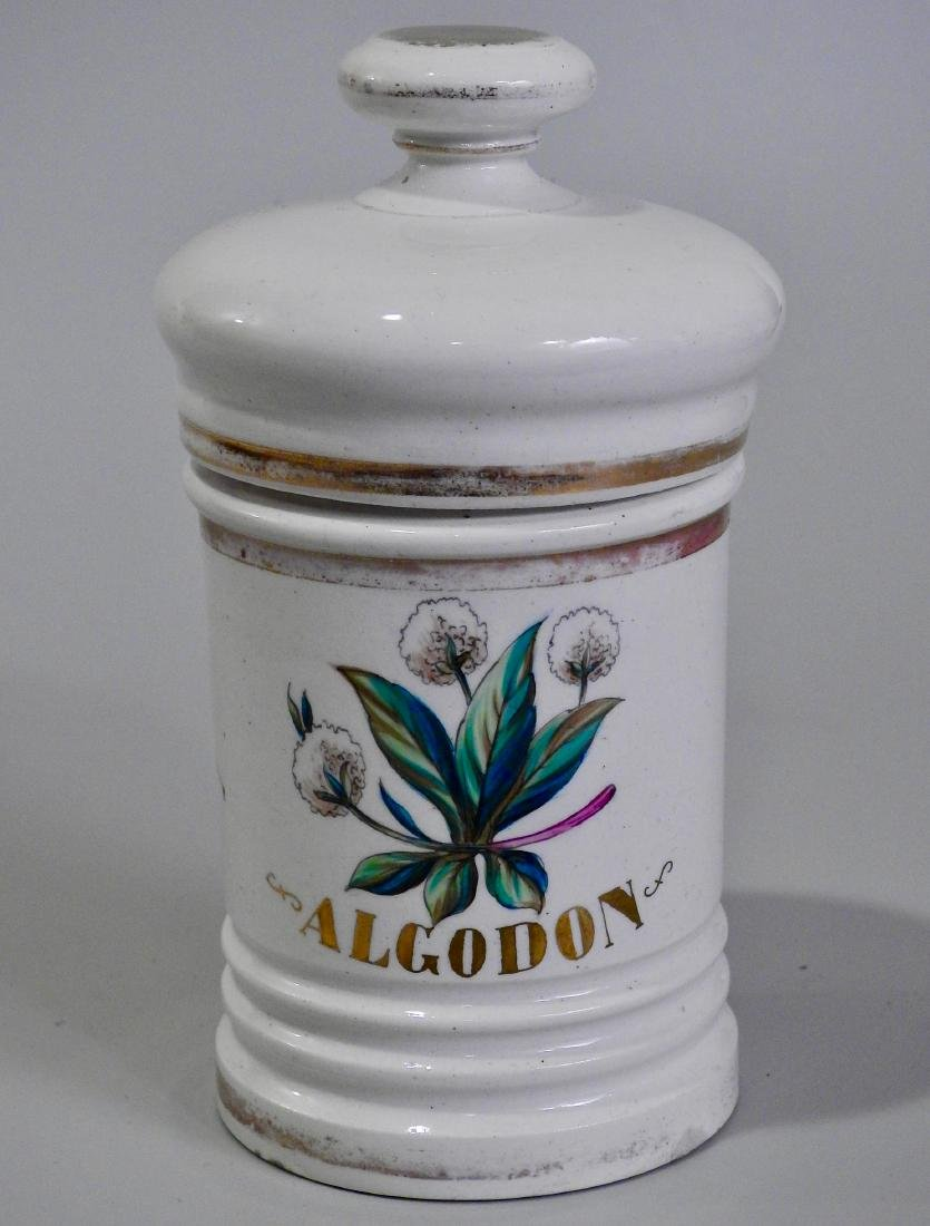 Algodon Cotton Balls Apothecary Jar Barber Shop