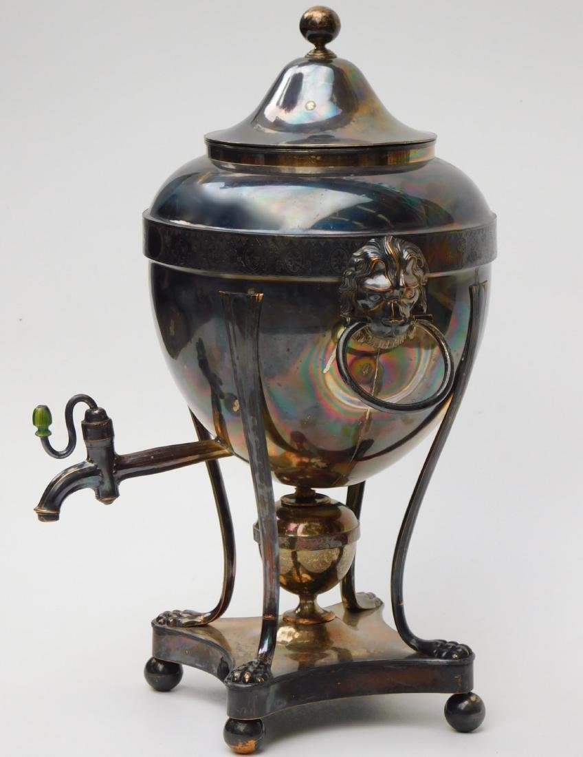 English Regency Hot Water Urn Sheffield Silver Plate