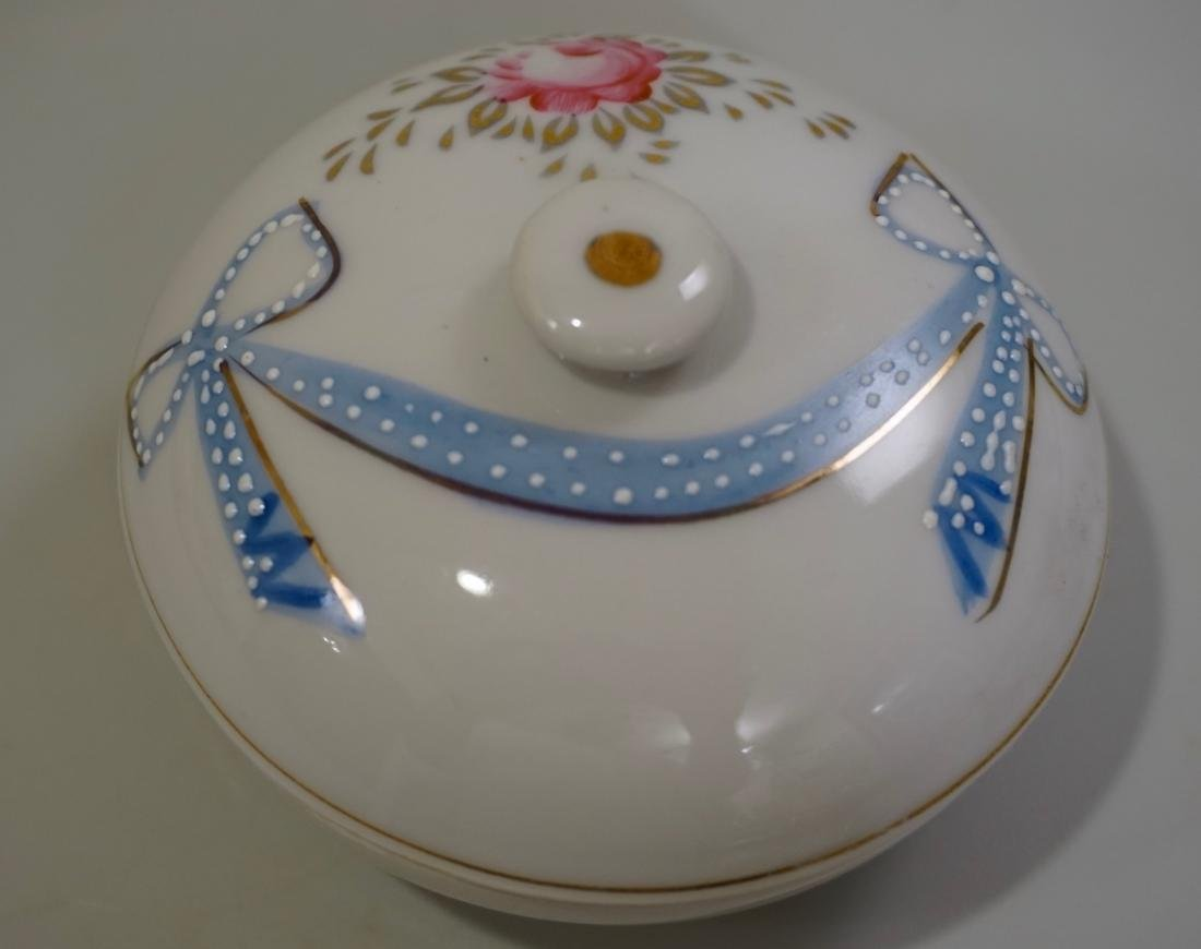 Vintage Hand Painted Porcelain Circular Trinket Box