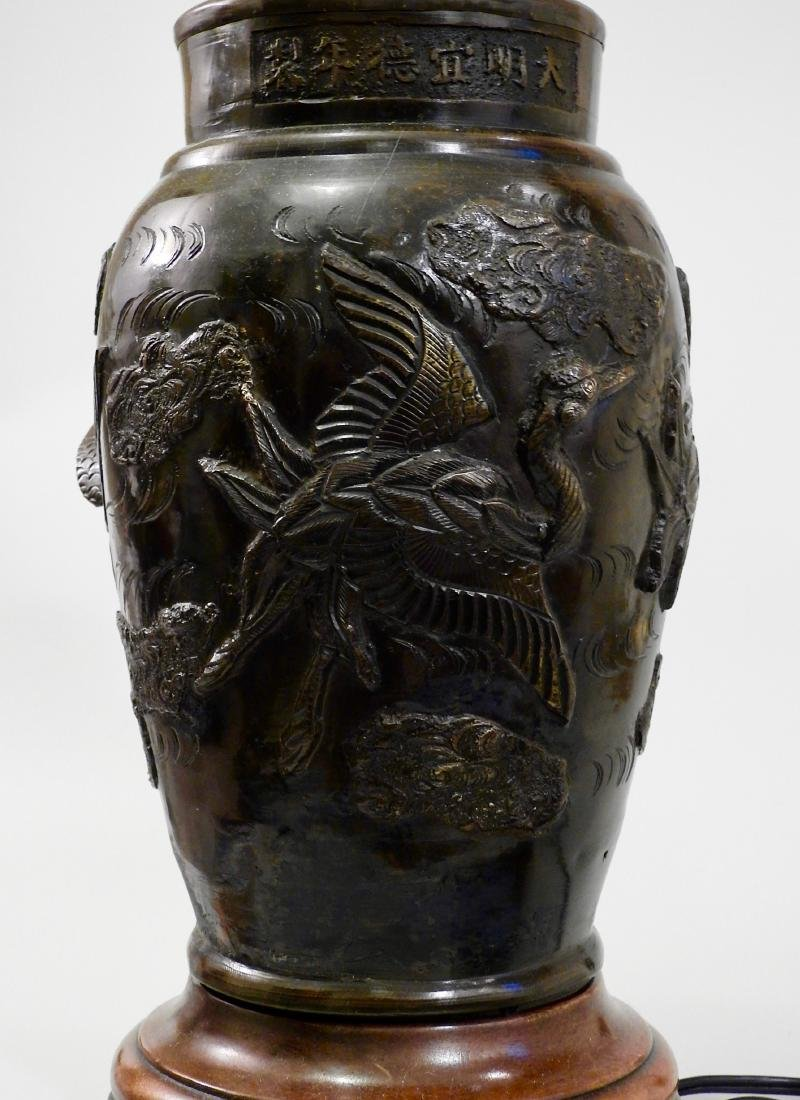 Oriental Bronze Crane Vase Lamp
