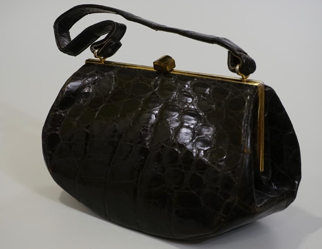 Vintage Crocodile Leather Handbag Ladies Purse Brass