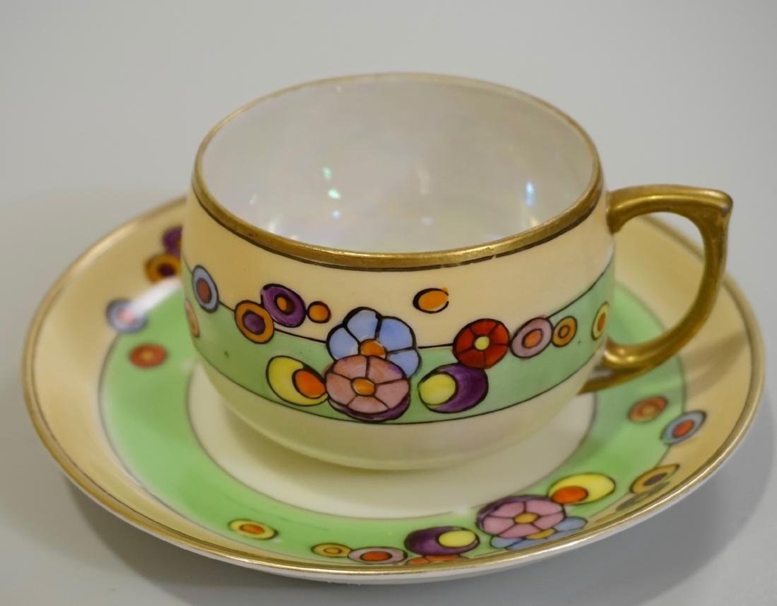 Art Deco Hand Painted Japan Porcelain Cup Saucer Set