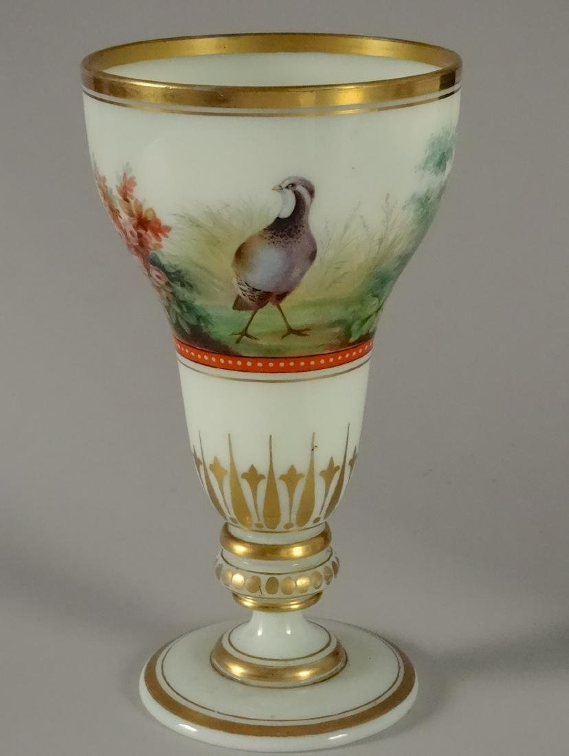 Enameled Art Glass Trophy Pheasant Cup Pocal Vase