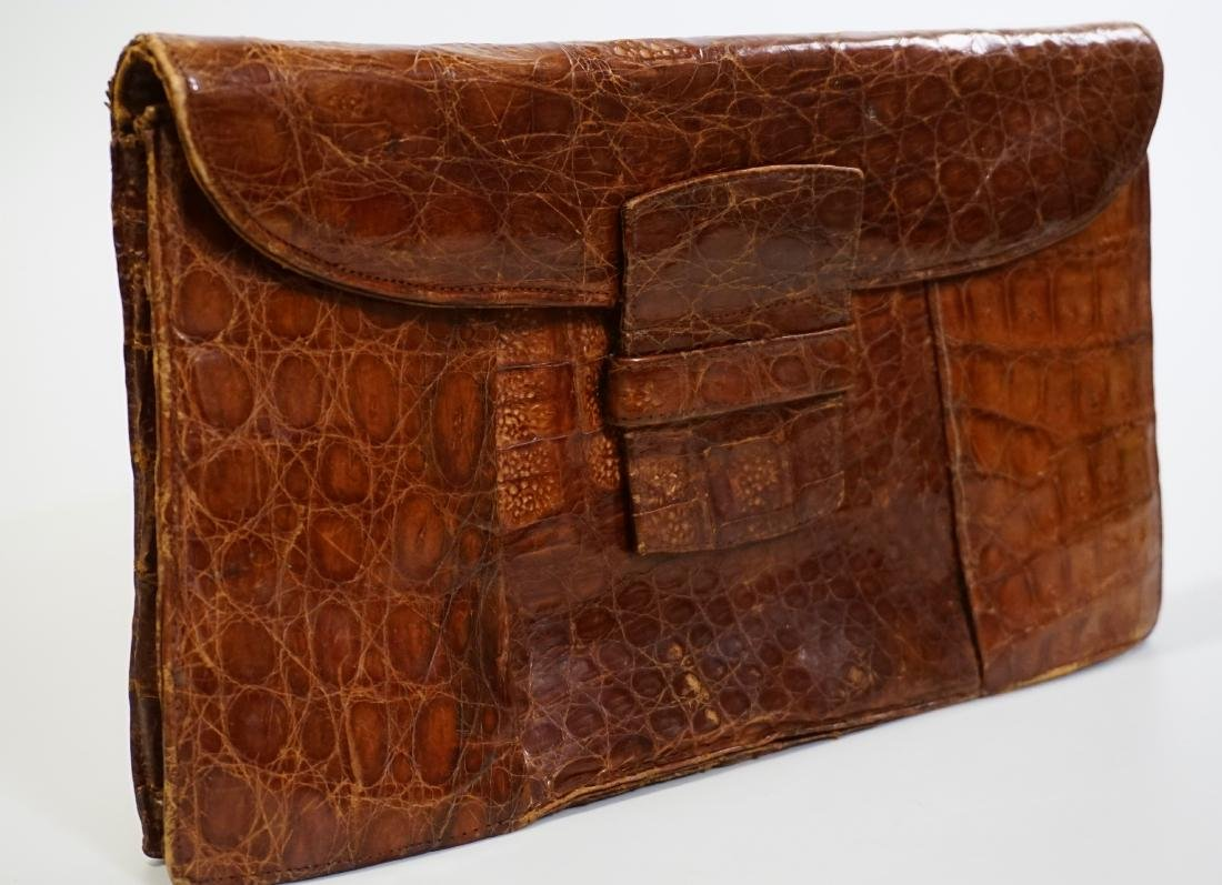 Vintage Alligator Leather Clutch Exotic Skin Handbag c