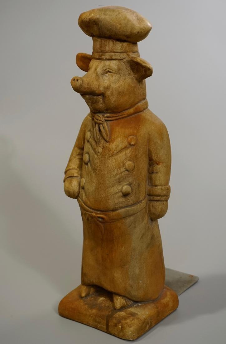 Terracotta Painted Pig Chef Statue Doorstop Heavy Cast