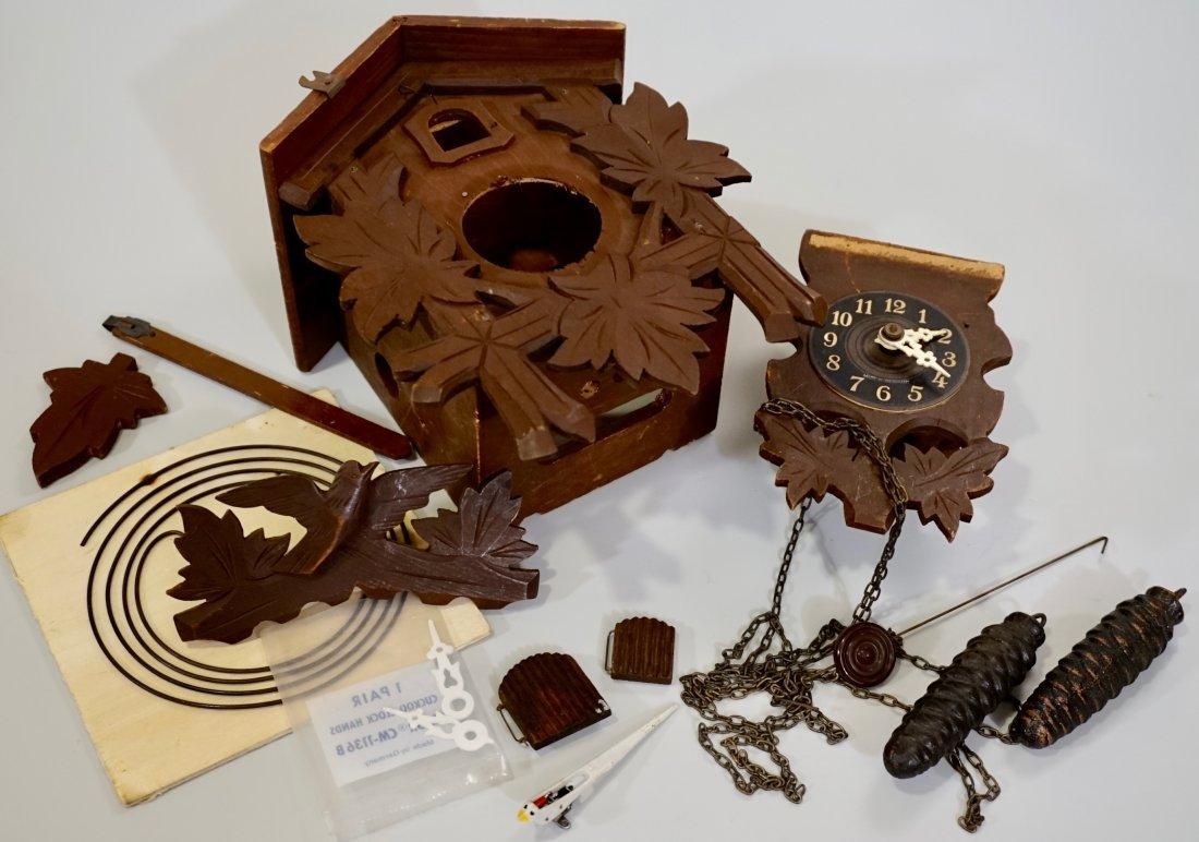 Vintage German Cuckoo Clock Project Parts