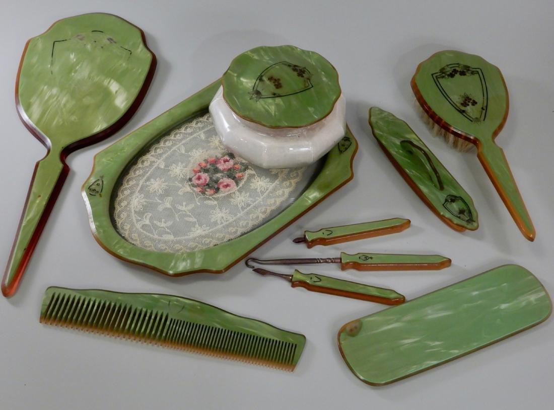 Vintage Art Deco Green Celluloid Vanity Set