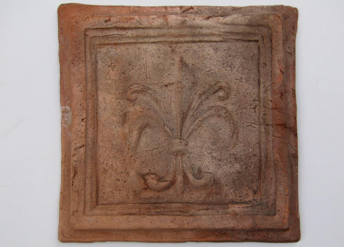 Antique Large Hand Made Terracotta Fleur de Lis Tile