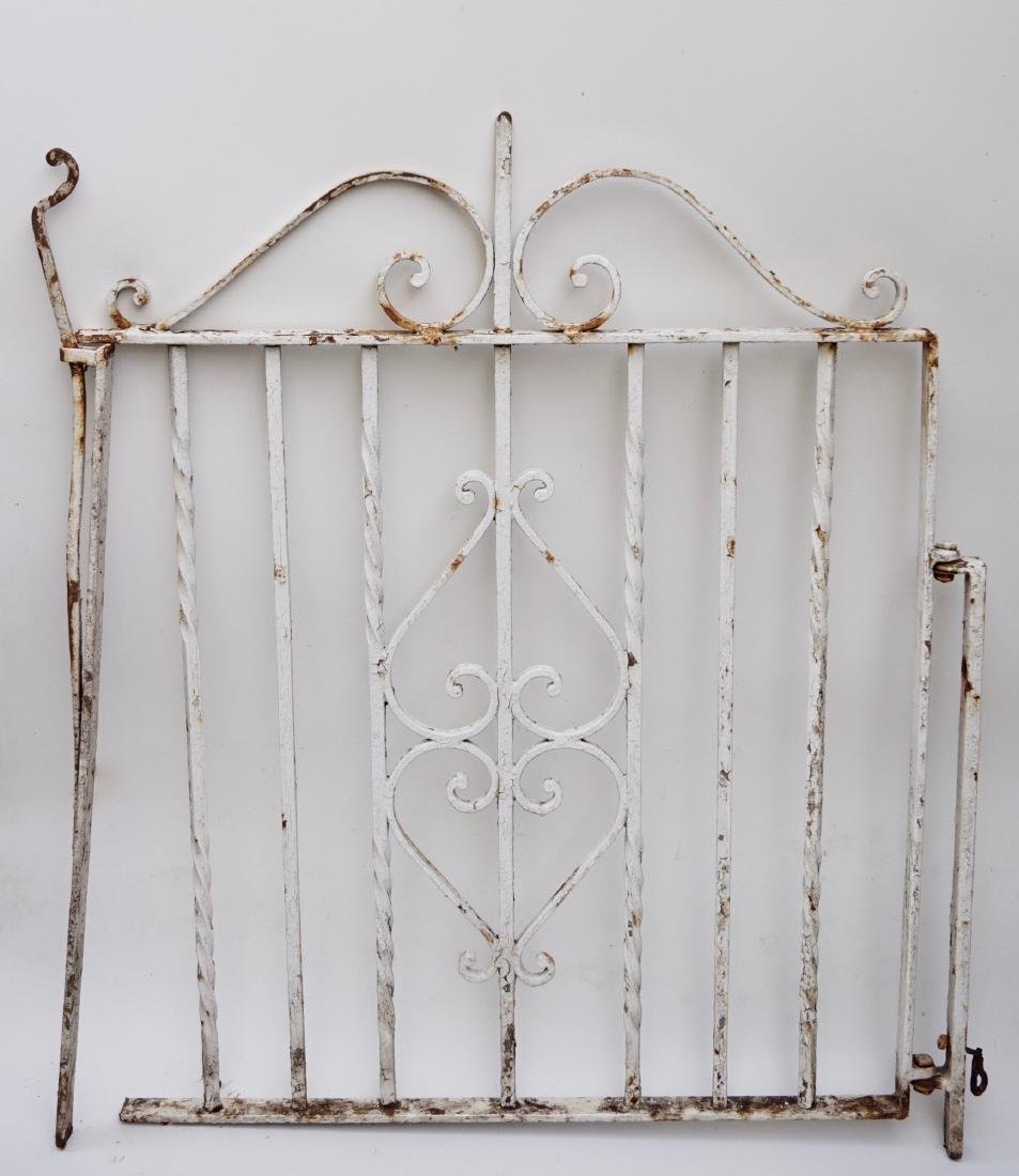 Vintage Wrought Iron Garden Gate Painted White