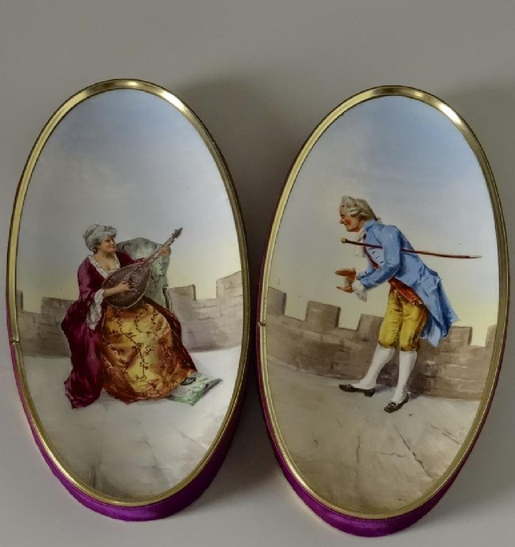 Antique French Romantic Musical Pictures Hand Painted