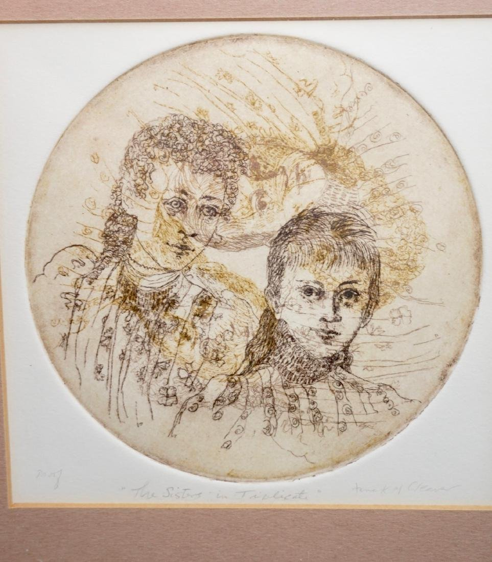 Vintage Framed Etching Engraving The Sisters In