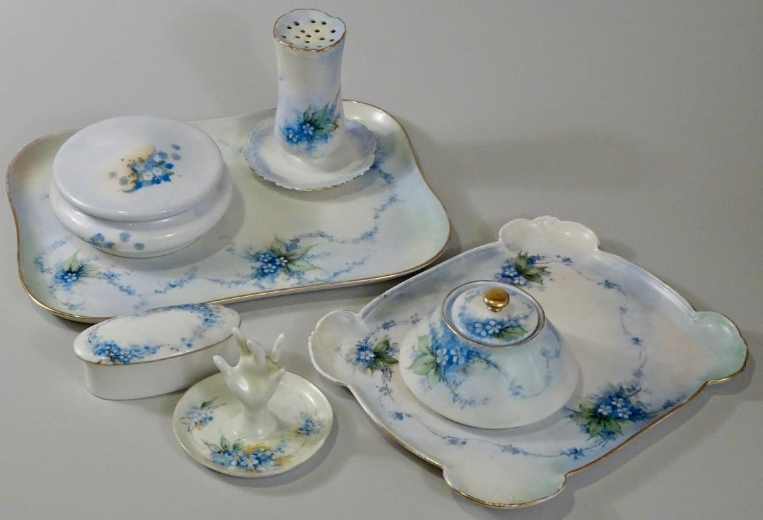 Vintage Hand Painted Porcelain Vanity Set Boxes Trays