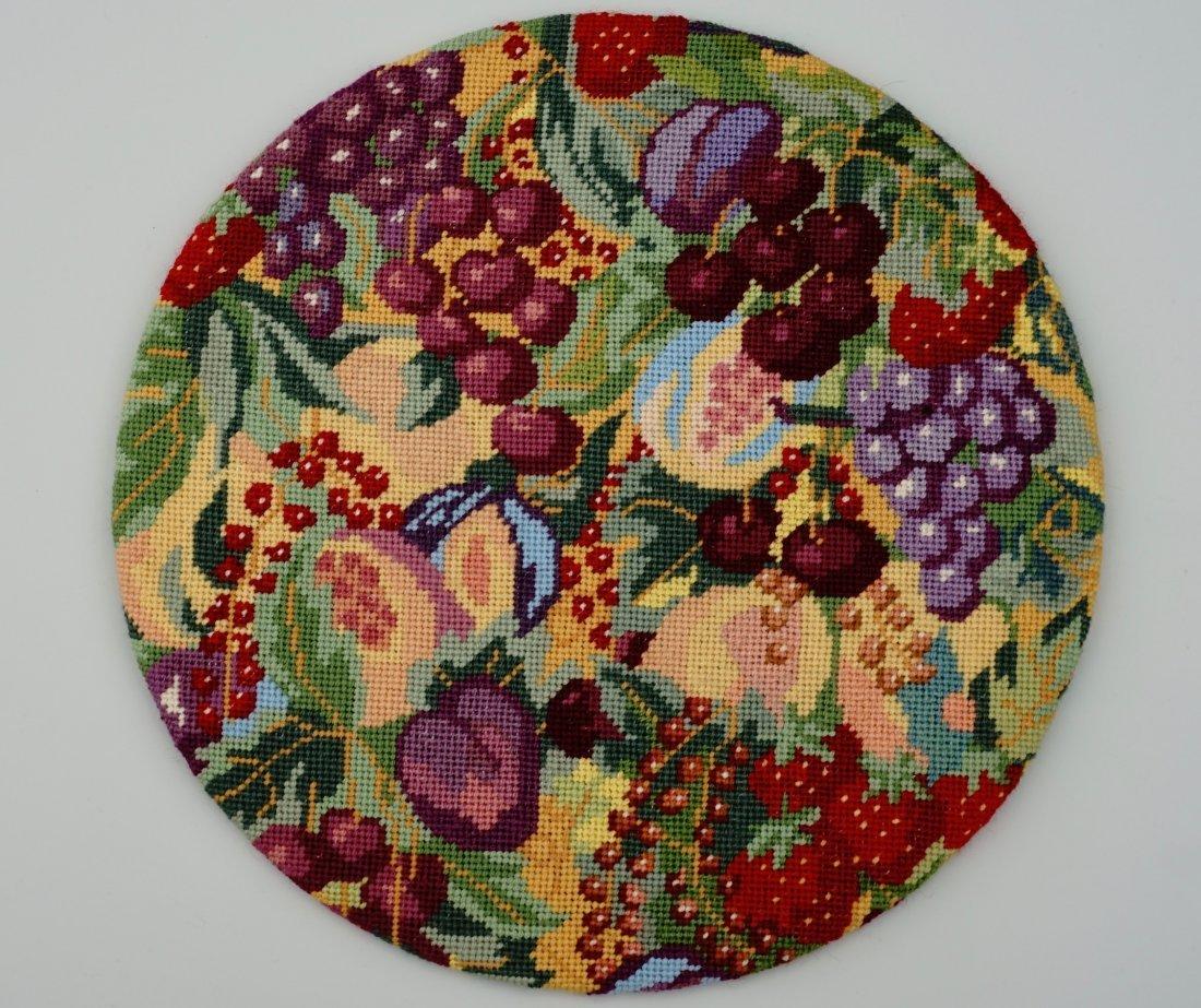 Garden Fruits Needlepoint Roundel Mounted on Board