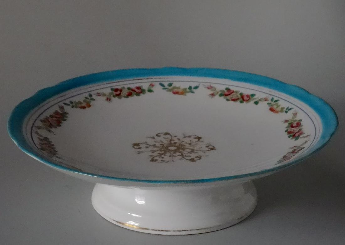 Old Paris Painted Compote Cake Footed Plate Stand