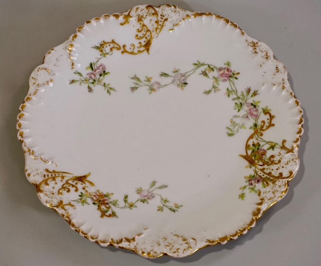 TV Limoges Porcelain Louis XV Rocaille Painted Plate
