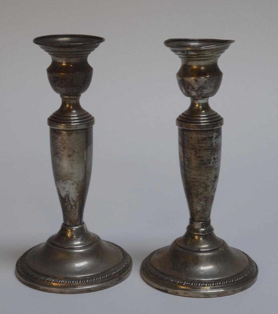 Vintage Weighted Sterling Silver Candlesticks Pair