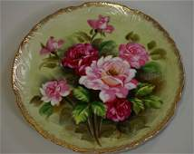 Fine Antique Hand Painted Roses Porcelain Plate Artist