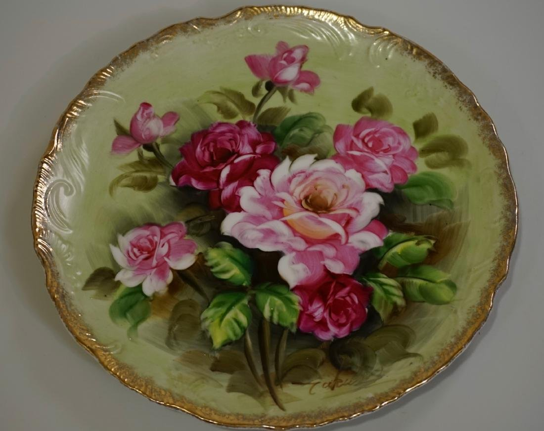 Fine Antique Hand Painted Roses Porcelain Plate Artist