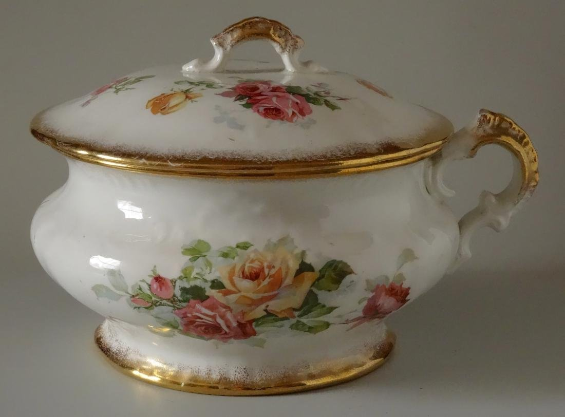 Vintage Homer Laughlin Chamber Pot with Lid Roses