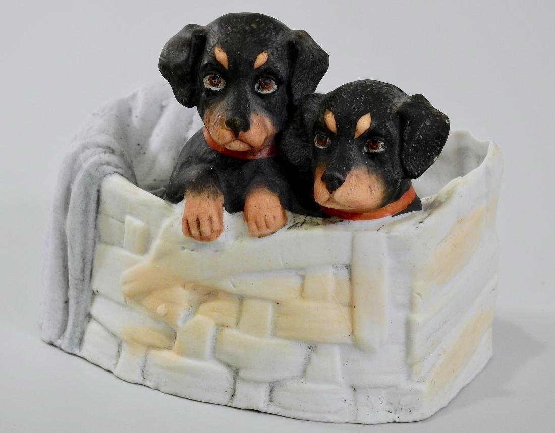Doberman Pinscher Puppies Dog Basket Antique German
