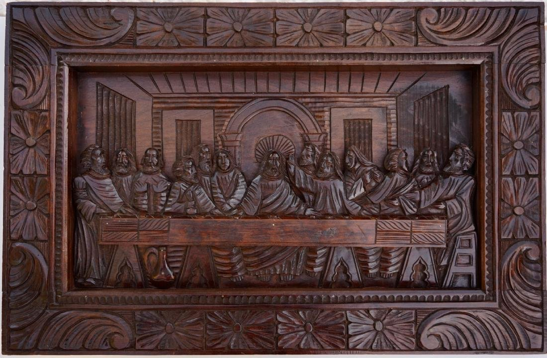 Last Supper Vintage Carved Wood Panel Wall Plaque