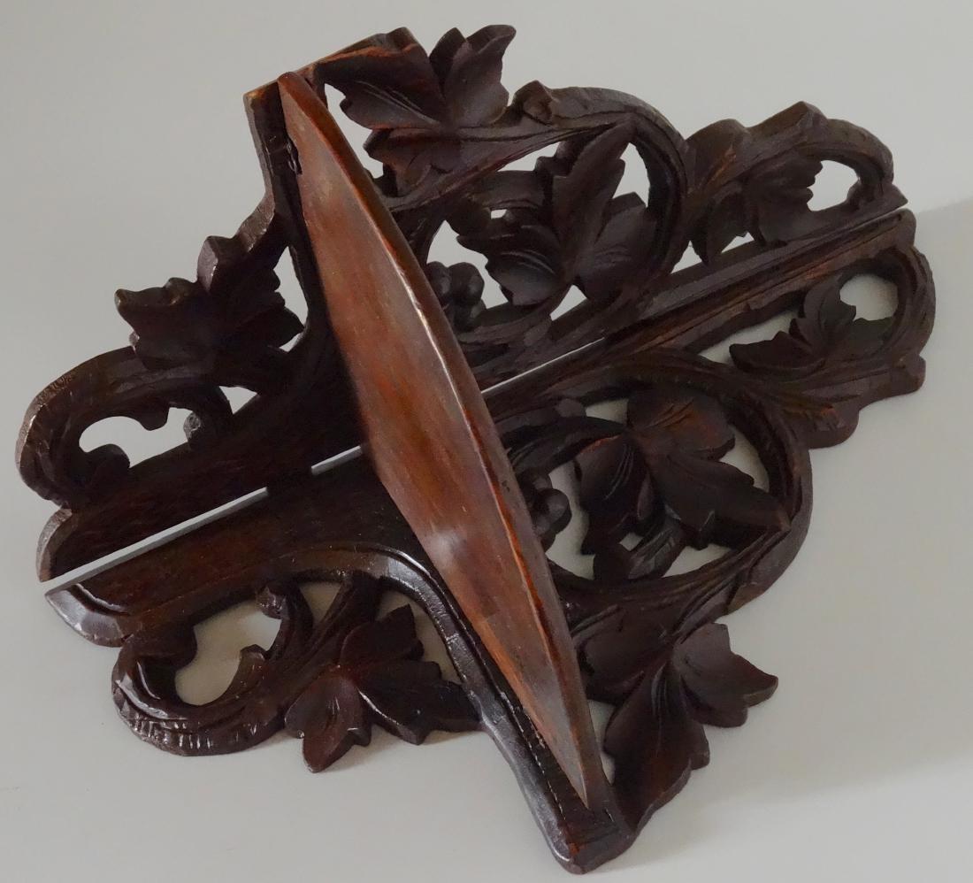 Antique Black Forest Carved Corner Shelf Foldable