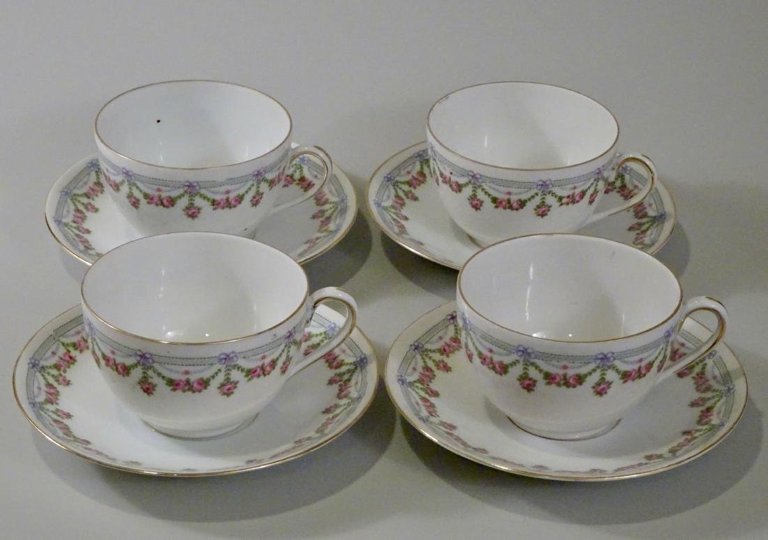 Vintage Austrian Porcelain Tea Cup and Saucers Lot of 4