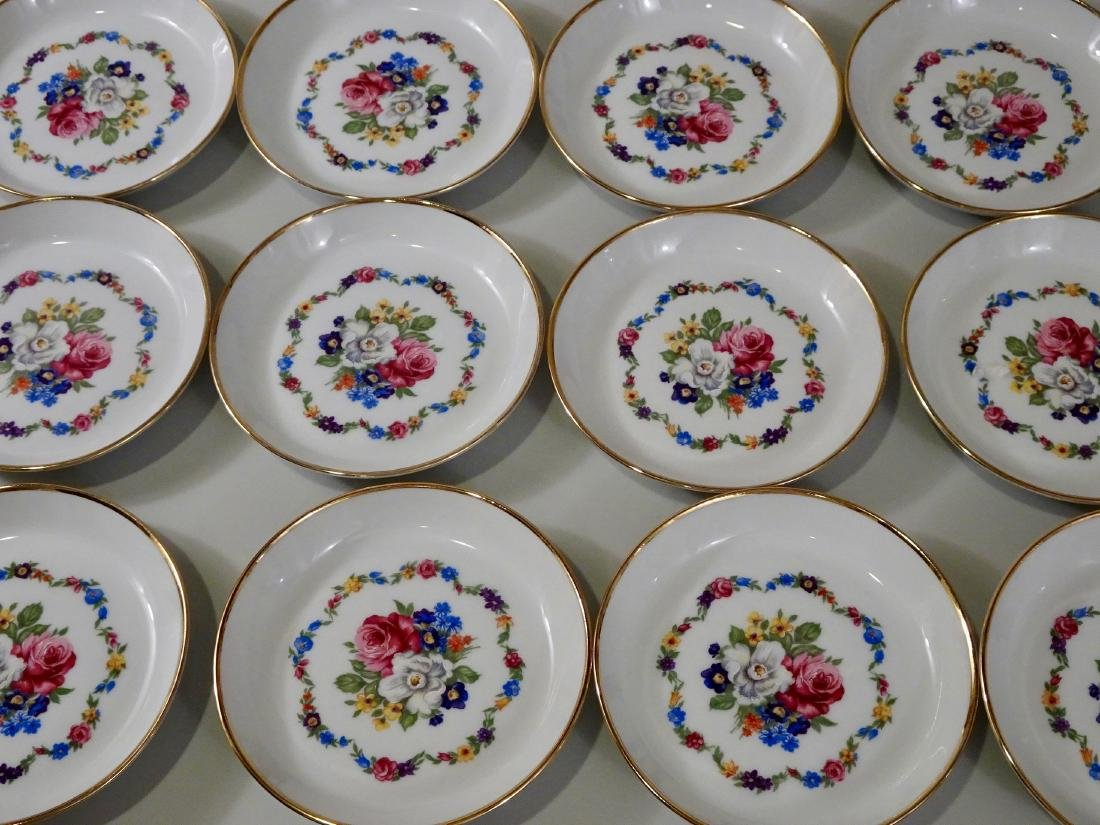 Lot of 12 Colorful Bavarian Butter Pat Plates Saucers