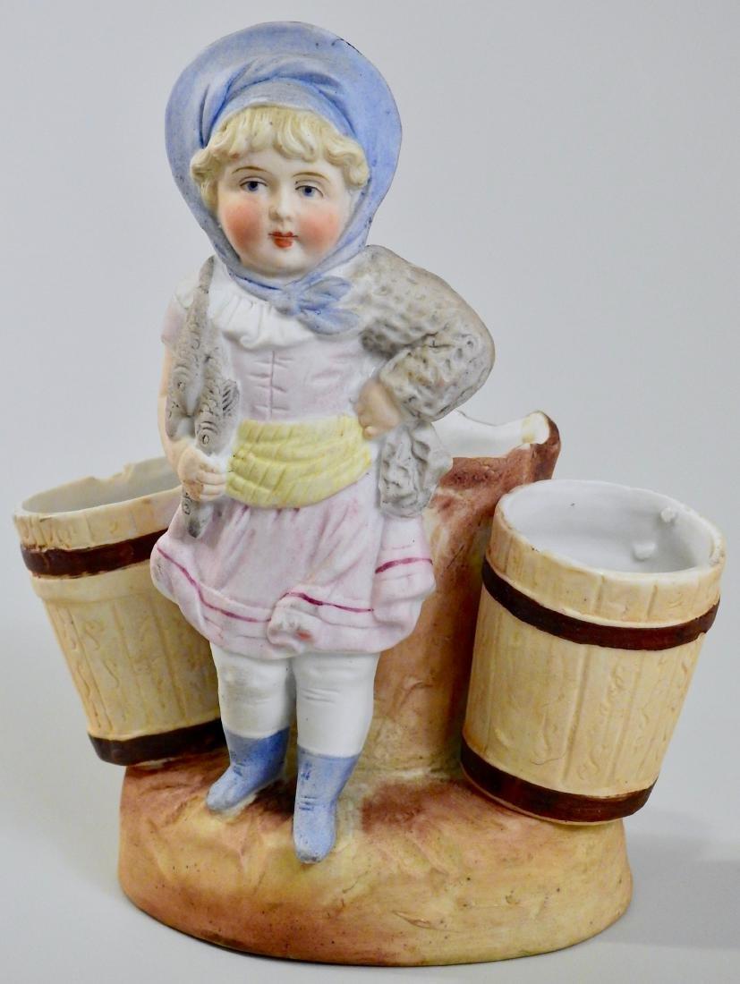 Antique Fishing Girl German Bisque Porcelain Spill Vase
